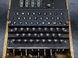 """A rare and fully-functional German Naval four-rotor Enigma enciphering machine (M4), is viewed at Bonhams New York on October 22, 2015.  The machine that headlined the auction """"Conflicts of the 20th Century"""" at Bonhams New York on October 21, sold for for $365,000 USD including premium which set a world-record.  Representing the scarcest of the German enigma machines, the M4 was built in 1943-45and up to 150 machines survived from the approximately 1,500 built.   AFP PHOTO / TIMOTHY A. CLARYTIMOTHY A. CLARY/AFP/Getty Images"""
