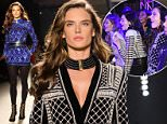 BALMAIN x H&M Collection Launch Runway in NYC  Pictured: Alessandra Ambrosio Ref: SPL1156571  201015   Picture by: Richie Buxo / Splash News  Splash News and Pictures Los Angeles: 310-821-2666 New York: 212-619-2666 London: 870-934-2666 photodesk@splashnews.com