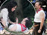 Exclusive: Ricky Gervais pictured filming scenes for Life On The Road. David Brent shooting a video for his epic folk ballad, Lady Gypsy. In Hampstead London UK