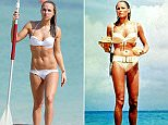 EXCLUSIVE: Chloe Madeley seen doing her best Ursula Andress impression whilst on the beach in Dubai. Chloe was seen wearing a white bikini whilst showing off her incredibly toned body.\nPics taken Oct 12th.