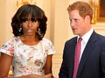 File photo dated 09/05/13 of Prince Harry with First Lady Michelle Obama at the White House, as the pair will meet wounded servicemen and women undergoing rehab when they visit a US military base next week. PRESS ASSOCIATION Photo. Issue date: Thursday October 22, 2015. Harry is making a one-day trip to the US to highlight his up-coming Invictus Games, a Paralympic- style championship for injured military personnel from across the globe being staged in Orlando in 2016. See PA story ROYAL Invictus. Photo credit should read: John Stillwell/PA Wire