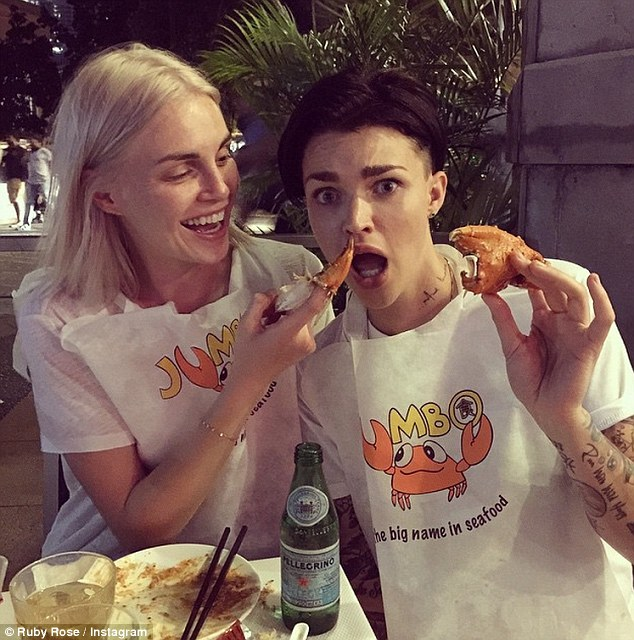 Goofing around: Ruby enjoyed seafood meal with fiancée Phoebe Dahl as they dined in Singapore together