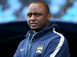 Reserve team manager of Manchester City FC Patrick Vieira looks on during the UEFA Youth League Round of 16 match between Manchester City FC and FC Schalke 04 at City Football Academy on February 24, 2015 in Manchester, England.    MANCHESTER, ENGLAND - FEBRUARY 24:   (Photo by Jan Kruger/Getty Images)