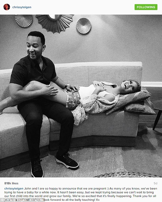 A little bit staged: Chrissy said that her black and white pregnancy announcement photo was not as candid as it looked