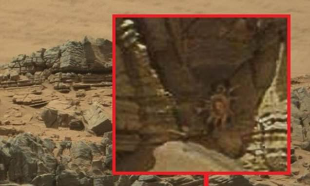 Crab-like 'alien facehugger' in a cave is spotted on Mars by conspiracy theorists