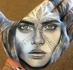 Stunning: He uses incredible shading to create the contours of the faces, such as this one of Cara Delevingne