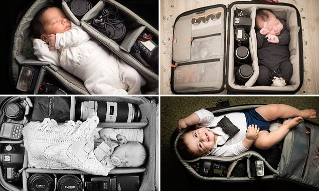 Photographers take pictures of babies sleeping in camera bags