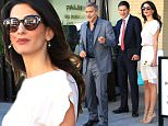 George Clooney was spotted at Palms restaurant with his stunning wife, Amal Alamuddin.  The radiant human rights lawyer wore a sleeveless off-white dress with watching heels, while George with with a gray suit, sans tie.  Thursday, October 22, 2015  X17online.com