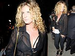 Rachel Hunter wears a see-through sheer blouse with lace bar to an Art Exhibition in LA!. The Art Exhibition Opening of Brian Bowen Smith's METALLIC LIFE.  He explores the uniformity and sexuality of the nude through the textures of skin in a bare modern world.   Pictured: Rachel Hunter Ref: SPL1158981  221015   Picture by: Atlantic Images / Splash News  Splash News and Pictures Los Angeles: 310-821-2666 New York: 212-619-2666 London: 870-934-2666 photodesk@splashnews.com