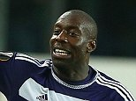 Stefano Okaka of Anderlecht celebrates scoring his goal to make the score 2-1 with his boot in his hand during the UEFA Europa League Group J match between Anderlecht and Tottenham Hotspur played at Constant Vanden Stock Stadium, Brussels on 22nd October 2015
