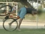 Thieves get their comeuppance when prankster ties back wheel of ?unlocked? bicycles to a tree and films them suffering painful looking faceplants as they try to ride off 9 NEWS.COM.AU