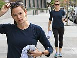 Brentwood, CA - Jennifer Garner spends her Thursday morning taking her daughters to school then hitting the gym. The actress kept it casual in black leggings and a navy shirt as she sipped her iced coffee on her walk to the gym. \nAKM-GSI        October 22, 2015\nTo License These Photos, Please Contact :\nSteve Ginsburg\n(310) 505-8447\n(323) 423-9397\nsteve@akmgsi.com\nsales@akmgsi.com\nor\nMaria Buda\n(917) 242-1505\nmbuda@akmgsi.com\nginsburgspalyinc@gmail.com