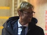 LIVERPOOL MANAGER JURGEN KLOPP AND WIFE ULLA  SANDRCK SEEN LEAVING ANFIELD WITH A SMILE ON THEIR FACE AFTER DRAWING 1-1 TO RUBIN KAZAN IN THE EUROPA LEAGUE \n \n***EXC AL ROUND*** \n\n***iCelebTV.com***\n