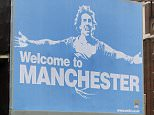 File Photo Dated 17/07/09 of A Manchester City FC poster bearing the face of new signing and former Manchester United striker Carlos Tevez, in the city centre. PRESS ASSOCIATION Photo. Issue date: Friday September 18, 2009. Manchester United manager Sir Alex Ferguson repeated his assertion that City behaved in an 'arrogant and cocky' manner when they displayed their infamous Tevez 'Welcome to Manchester' poster in the city's main shopping area this summer. See PA story SOCCER Man Utd Photo credit should read: Dave Thompson/PA Wire. RESTRICTIONS: Use subject to restrictions. Editorial print use only except with prior written approval. New media use requires licence from Football DataCo Ltd. Call +44 (0)1158 447447 or see www.paphotos.com/info/ for full restrictions