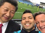 Handout photo issued Manchester City Football Club of the striker Sergio Aguero taking a selfie with Chinese President Xi Jinping and Prime Minister David Cameron as they visited the City Football Academy in Manchester on the last day of the state visit to the UK.  PRESS ASSOCIATION Photo. Picture date: Friday October 23, 2015. See PA story POLITICS China. Photo credit should read: MCFC/PA Wire NOTE TO EDITORS: This handout photo may only be used in for editorial reporting purposes for the contemporaneous illustration of events, things or the people in the image or facts mentioned in the caption. Reuse of the picture may require further permission from the copyright holder.