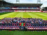 Premier league club West Ham official team photograph, showing the 1st team (seated ) and directors with all the full time staff at the club- see other pic for caption info...Picture taken at Upton Park, London.