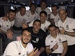 Taking to Twitter after the match, Charlie Adam (top, second left) posted a picture of he and his team-mates on their way back to Stoke