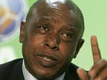 Tokyo Sexwale, Human Rights activist and member of the Organization Committee for World Cup in South Africa 2010, briefs the media during a news conference to promote the FIFA campaign 'Say No To Racism' at the Olympic Stadium in Berlin on Wednesday, June 28, 2006. (AP Photo/Markus Schreiber)