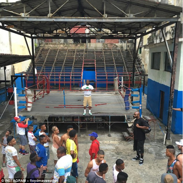 Mayweather also ventured to Cuba earlier this month where he visited an old gym in Havana