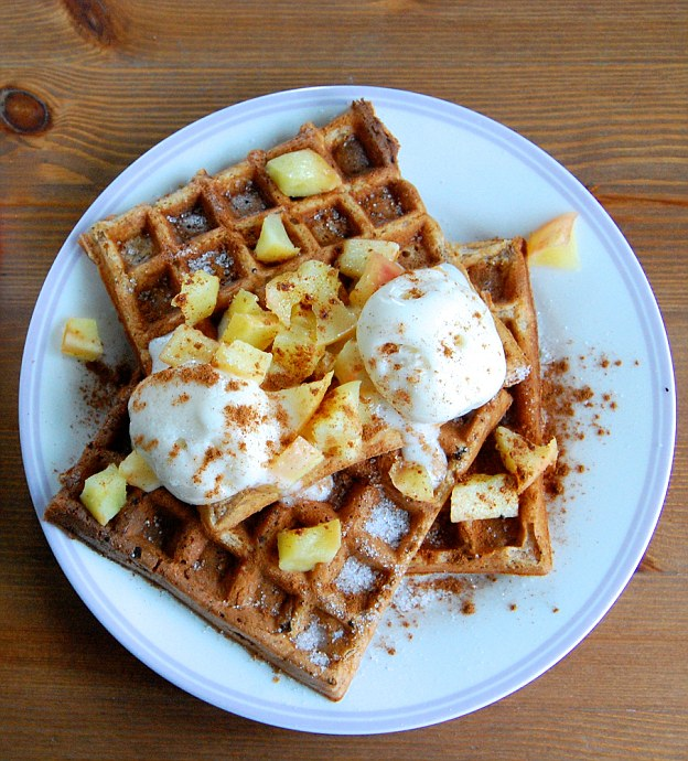 Protein-packed: These waffles are made with bananas, egg-whites and oat flour