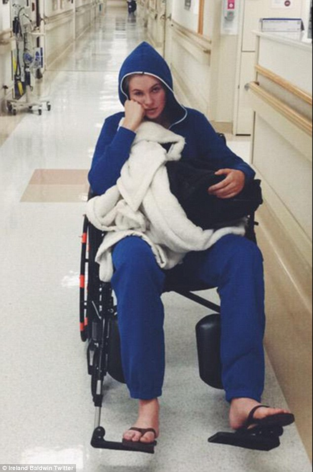 Glum but grateful: On Friday Ireland Baldwin tweeted a snap taken in Cedars-Sinai Hospital in Beverly Hills where she had an emergency operation to remove her appendix