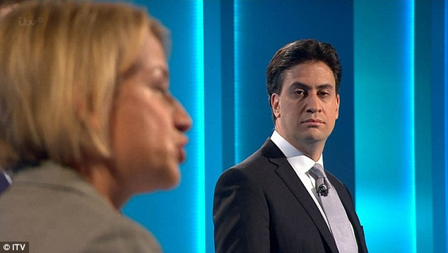In a further self-motivational message, Mr Miliband, pictured during the debate as Natalie Bennet speaks, also wrote the words 'negative' and 'positive' connected by an arrow.