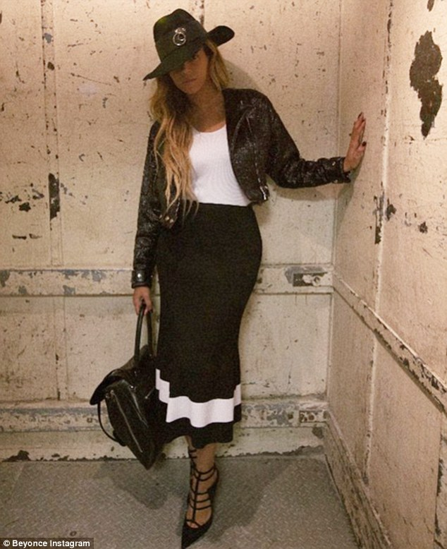 Oh so chic: The Flawless hitmaker Instagrammed this photo on Friday, showing off her Thursday outfit