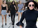 """West Hollywood, CA - Fashion's current """"IT"""" girls Gigi Hadid, Kendall Jenner, and Cara Delevingne take the day off to grab a bite to eat in trendy West Hollywood.  The trio, who are good friends, are considered to be the freshest faces in the fashion industry. \n  \nAKM-GSI      October 24, 2015\nTo License These Photos, Please Contact :\nSteve Ginsburg\n(310) 505-8447\n(323) 423-9397\nsteve@akmgsi.com\nsales@akmgsi.com\nor\nMaria Buda\n(917) 242-1505\nmbuda@akmgsi.com\nginsburgspalyinc@gmail.com"""