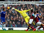 LONDON, ENGLAND - OCTOBER 24:  Andy Carroll (2nd R) of West Ham United scores his team's second goal  during the Barclays Premier League match between West Ham United and Chelsea at Boleyn Ground on October 24, 2015 in London, England.  (Photo by Clive Rose/Getty Images)