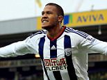"""West Bromwich Albion's Salomon Rondon celebrates scoring the opening goal during the Barclays Premier League match at Carrow Road, Norwich. PRESS ASSOCIATION Photo. Picture date: Saturday October 24, 2015. See PA story SOCCER Norwich. Photo credit should read: Stephen Pond/PA Wire. RESTRICTIONS: EDITORIAL USE ONLY No use with unauthorised audio, video, data, fixture lists, club/league logos or """"live"""" services. Online in-match use limited to 45 images, no video emulation. No use in betting, games or single club/league/player publications."""