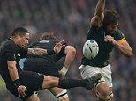 Rugby World Cup 2015, South Africa V New Zealand.Semi final  Picture Andy Hooper Daily Mail/ Solo Syndication pic shows aaron smith gets thr ball away