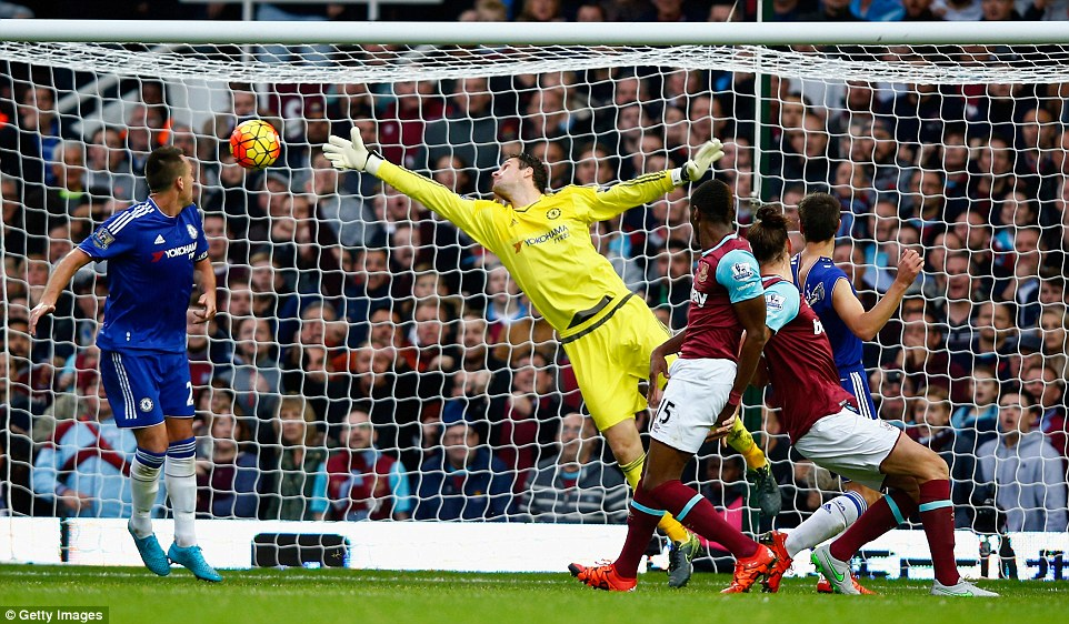 Chelsea goalkeeper Asmir Begovic could not stop Carroll's header as West Ham won the London derby
