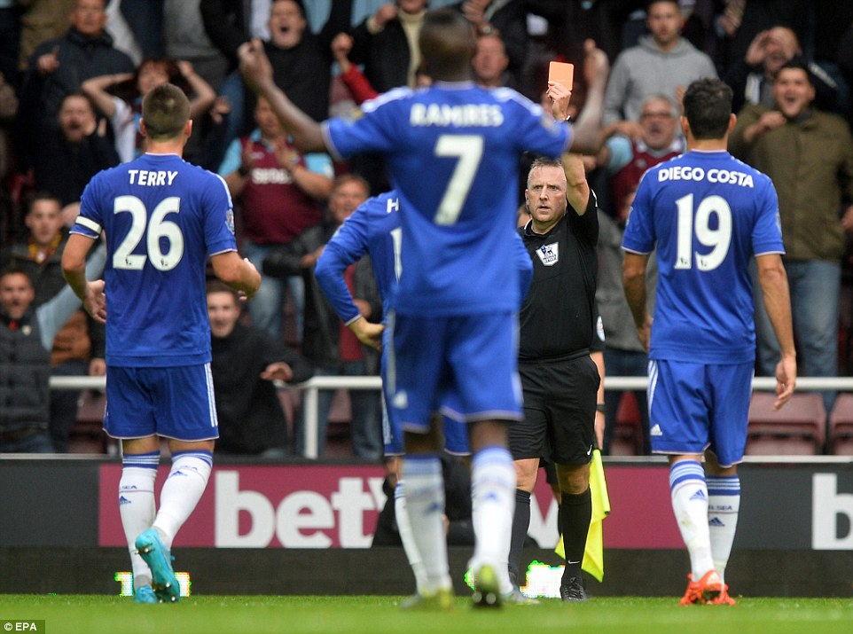 Referee Jonathan Moss reduced Chelsea to 10 men by sending off Nemanja Matic  shortly before half-time