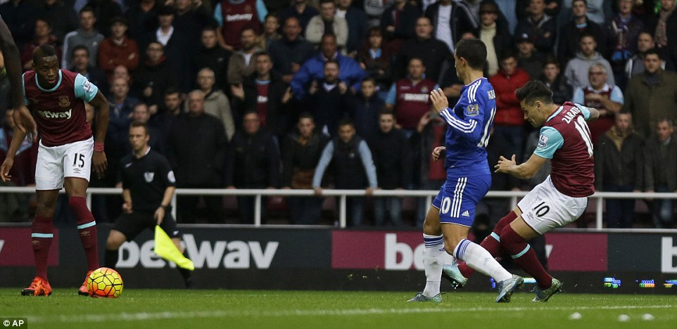 Mauro Zarate gave West Ham the lead  at Upton Park with this shot as Chelsea fell behindin the 17th minute