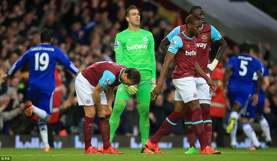 West Ham players look dejected after throwing away their lead against 10-man Chelsea at Upton Park