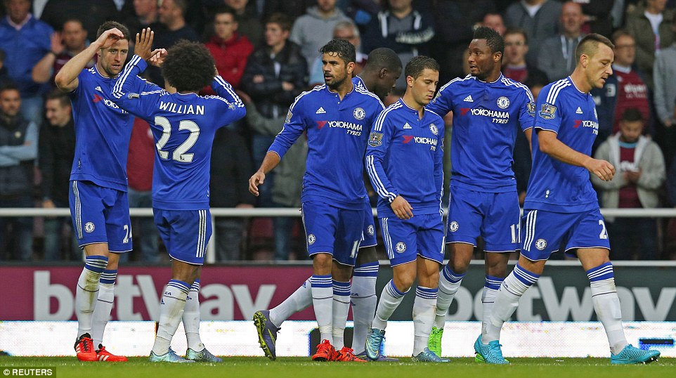 Chelsea were able to get back into the game through Cahill (far left) despite being down to 10 men against West Ham