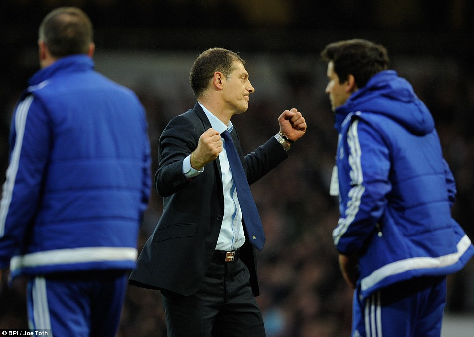 West Ham manager Slaven Bilic celebrates after their win against 10-man Chelsea in a pulsating contest at Upton Park