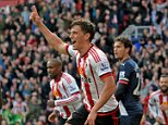 Billy Jones of Sunderland celebrates scoring their second goal during the Barclays Premier League match between Sunderland and Newcastle United played at Stadium of Light, Sunderland, on the 25th October 2015