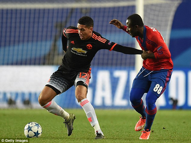 Centre back Chris Smalling, in Champions League action on Wednesday, has been in fine form this season