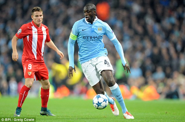 Yaya Toure, running with possession against Sevilla, will be needed to control the midfield on Sunday