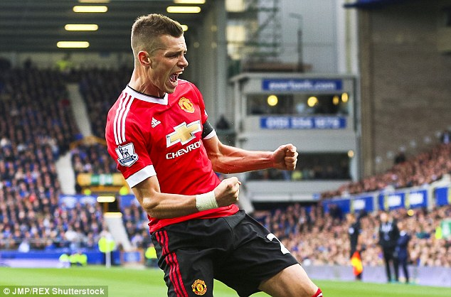 Morgan Schneiderlin pumps his fists having scored for Manchester United against Everton last weekend