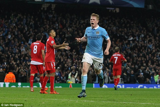 Manchester City's £54million summer signing roars in celebration after scoring the winner against Sevilla