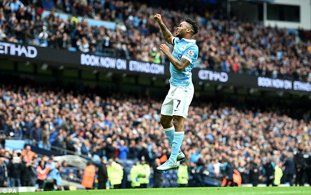 Forward Raheem Sterling jumps into the air as he fired in a hat-trick against Bournemouth last weekend