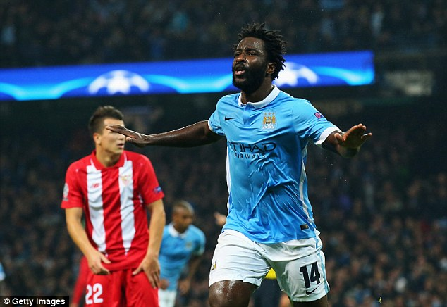 Manchester City's Wilfried Bony, celebrating in midweek, will lead their attack in the absence of Sergio Aguero