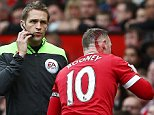 Wayne Rooney of Manchester United sports a cut on his head during the Barclays Premier League match between Manchester United and Manchester City played at Old Trafford Stadium, Manchester on October 25th 2015