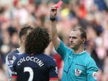 "Football - Sunderland v Newcastle United - Barclays Premier League - Stadium of Light - 25/10/15  Newcastle's Fabricio Coloccini is sent off by referee Robert Madley  Reuters / Andrew Yates  Livepic  EDITORIAL USE ONLY. No use with unauthorized audio, video, data, fixture lists, club/league logos or ""live"" services. Online in-match use limited to 45 images, no video emulation. No use in betting, games or single club/league/player publications.  Please contact your account representative for further details."