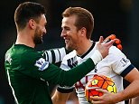 BOURNEMOUTH, ENGLAND - OCTOBER 25:  Hugo Lloris (L) of Tottenham Hotspur conglatutes Harry Kane (R) on his hat trick after the 5-1 win in the Barclays Premier League match between A.F.C. Bournemouth and Tottenham Hotspur at Vitality Stadium on October 25, 2015 in Bournemouth, England.  (Photo by Jordan Mansfield/Getty Images)