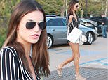 UK CLIENTS MUST CREDIT: AKM-GSI ONLY\nEXCLUSIVE: Malibu, CA - Brazilian beauty Alessandra Ambrosio shows off her legs as she arrives at Nobu Restaurant in Malibu for a family dinner.