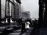 BNPS.co.uk (01202 558833) Pic: HAldridge/BNPS Never-seen-before photographs showing the launch of he ill-fated Titanic from a shipyard in Belfast have been discovered in an old box in a cupboard. The five black and white images show the world's biggest vessel at the time sliding down a slipway and into the sea for the first time in front of a massive crowd of 100,000 spectators. The snaps were taken at 12.15pm on May 31, 1911 by a Belfast businessman who was given close access to the doomed liner at the Harland and Wolff shipyard. They are set to fetch £6,000 when they are sold at Henry Aldridge and Son auctioneers in Devizes, Wilts.