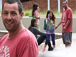 Please contact X17 before any use of these exclusive photos - x17@x17agency.com   Adam Sandler cracking up with his family Jackie, and daughters Sunny and Sadie. He's looking very thin and looks stressed out.  X17online.com Sunday, October 25, 2015.